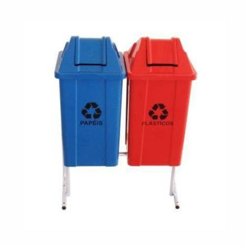 Coleta Seletiva de Lixo Santana com Tampa Vai e Vem 60 Litros - 2 Lixeiras
