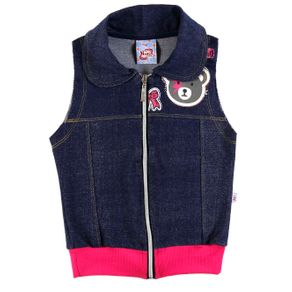 Colete Infantil para Menina - Azul/rosa 4