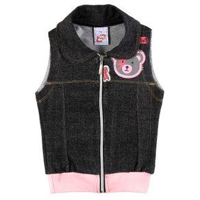 Colete Infantil para Menina - Cinza/rosa 10