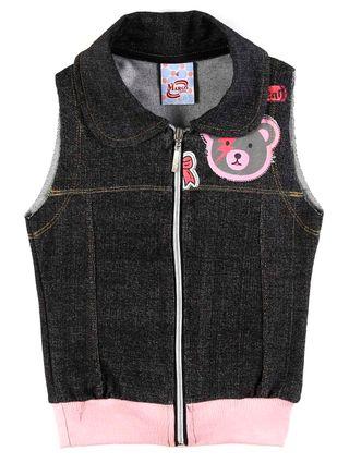 Colete Infantil para Menina - Cinza/rosa