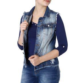 Colete Jeans Feminino Azul GG