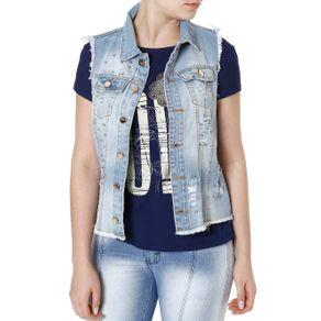 Colete Jeans Feminino Azul P