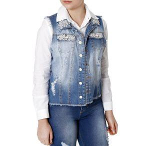 Colete Jeans Feminino Azul G