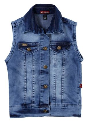 Colete Jeans Juvenil para Menina - Azul