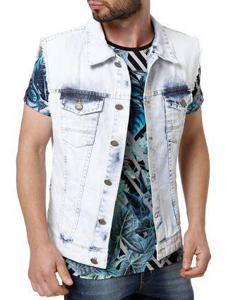 Colete Jeans Masculino Mokkai Azul