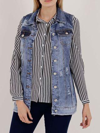 Colete Jeans Oversized Feminino Mokkai Azul