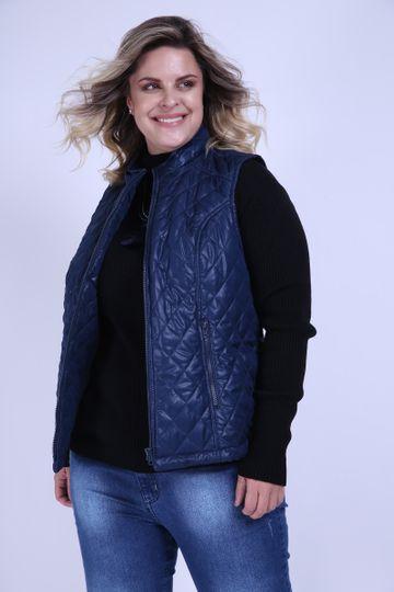 Colete Matelasse Plus Size Azul Marinho PP