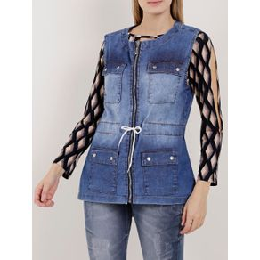 Colete Parka Jeans Feminino Azul M