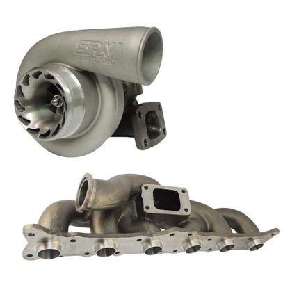 Coletor de Escape para Turbo BMW 335 / 135 Motor N54 - Padrão T3 + Turbina .70 SPA 700 T3 - com Refluxo Eixo 64mm Rotor 56mm - Refrigerada a Água - A/R .63 (TMB02-BBSPA700T363M)