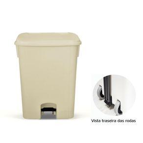 Coletor de Lixo 100L C/ Pedal e Rodas, CP11BG Bege - Bralimpia