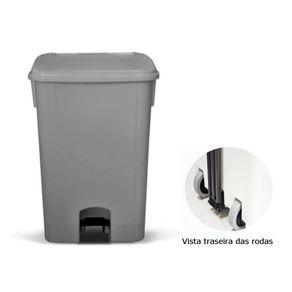 Coletor de Lixo 100L C/ Pedal e Rodas, CP11CZ Cinza - Bralimpia
