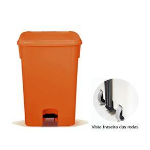 Coletor de Lixo 100L C/ Pedal e Rodas, CP11LJ Laranja - Bralimpia