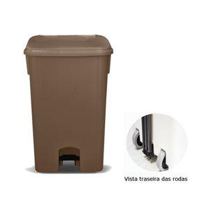 Coletor de Lixo 100L C/ Pedal e Rodas, CP11MR Marrom - Bralimpia