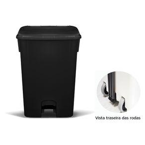 Coletor de Lixo 100L C/ Pedal e Rodas, CP11PR Preto - Bralimpia