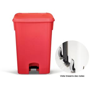 Coletor de Lixo 100L C/ Pedal e Rodas, Vermelho CP11VM - Bralimpia