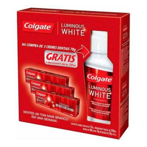 Colgate Luminous White Creme Dental 3x70g + Enxaguante 250ml