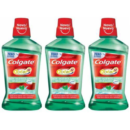 Colgate Total 12 Hálito Saudável Enxaguante Bucal 500ml (kit C/03)