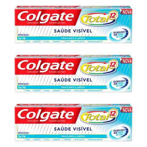 Colgate Total 12 Saúde Visível Creme Dental 70g (kit C/03)