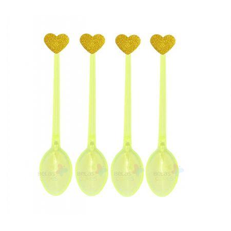 Colherzinha Acrílica Amarela com Aplique Coração Ouro Tamanho PP - 50 Unidades