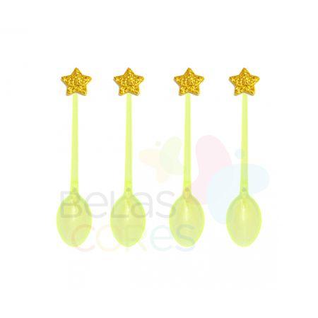 Colherzinha Acrílica Amarela com Aplique Estrela Ouro Tamanho PP - 50 Unidades