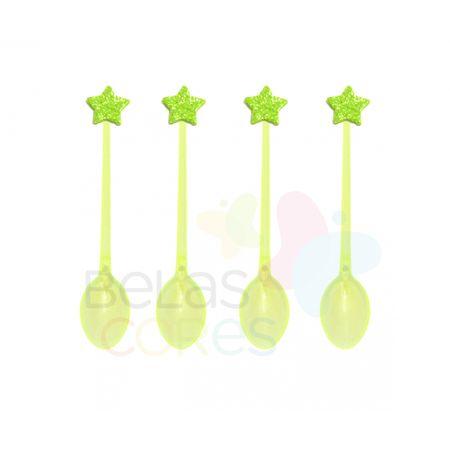 Colherzinha Acrílica Amarela com Aplique Estrela Verde Claro Tamanho PP - 50 Unidades