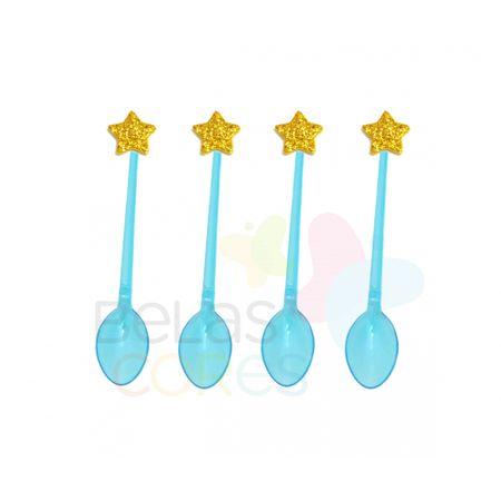 Colherzinha Acrílica Azul com Aplique Estrela Ouro Tamanho PP - 50 Unidades