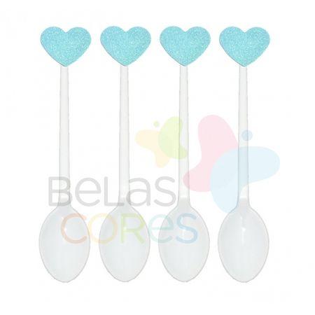 Colherzinha Acrílica Branca com Aplique Coração Azul Claro Tamanho PP - 50 Unidades