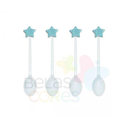 Colherzinha Acrílica Branca com Aplique Estrela Azul Claro Tamanho PP - 50 Unidades