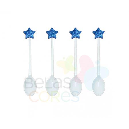 Colherzinha Acrílica Branca com Aplique Estrela Azul Escuro Tamanho PP - 50 Unidades