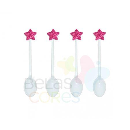 Colherzinha Acrílica Branca com Aplique Estrela Pink Tamanho PP - 50 Unidades