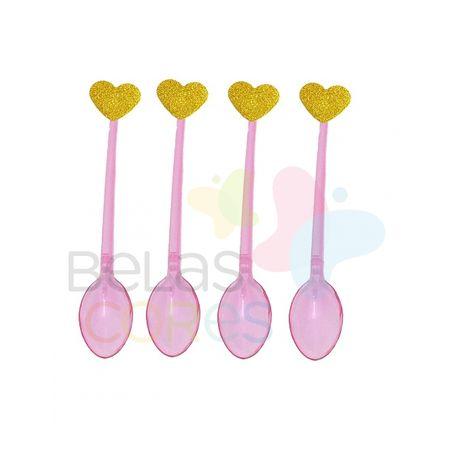 Colherzinha Acrílica Rosa com Aplique Coração Ouro Tamanho PP - 50 Unidades