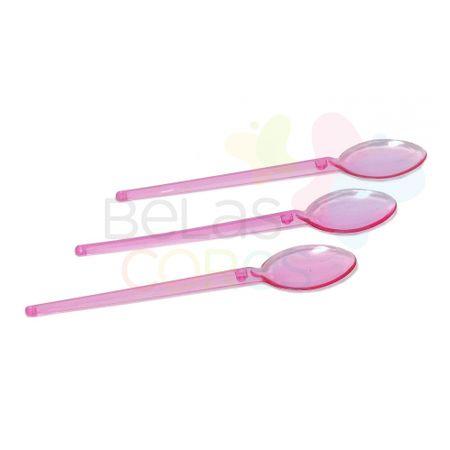 Colherzinha Acrílica Rosa Transparente - 50 Unidades