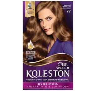 Coloração Creme Koleston Kit Marrom Dourado 77