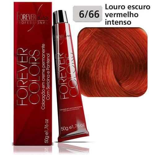 Coloração Forever Colors - Vermelho Intenso 6-66 Louro Escuro.