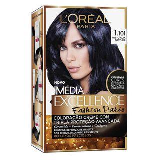 Coloração Imédia Excellence L'Oréal Paris - Fashion Paris 1.101 Preto Alta Costura