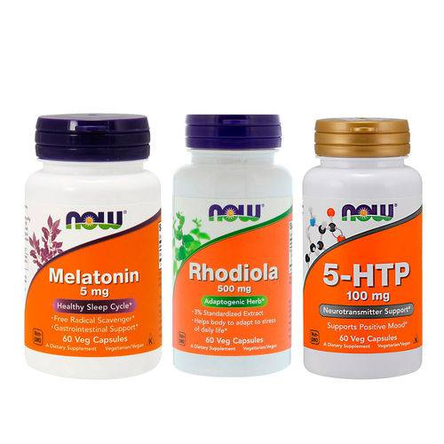 Comb 5-htp 100mg + Rhodiola Rosea 500mg + Mela 5mg Now Food
