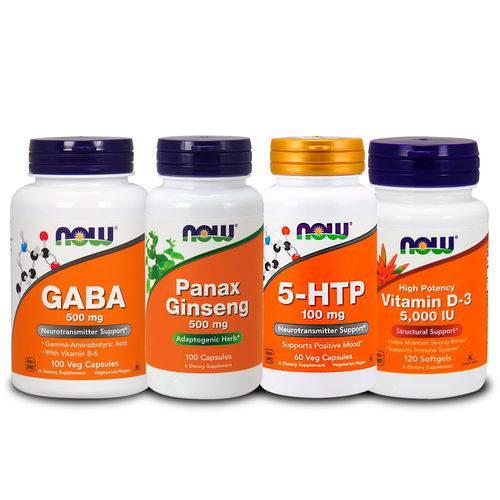 Combo 5-htp 100mg + Gaba + Panax + Vita D3 5000ui Now Foods