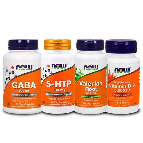 Combo 5-htp + Gaba + Valeriana + Vita D3 5000ui Now Foods