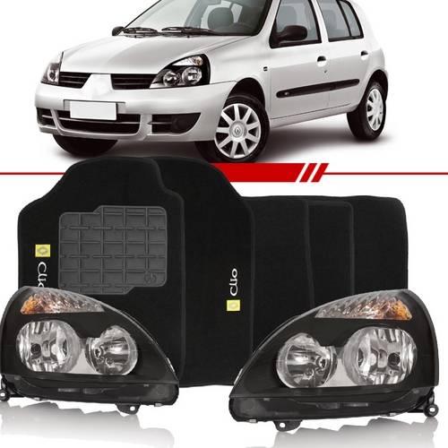 Combo Clio 2003 2004 2005 2006 2007 2008 2009 2010 2011 2012 Par Farol Máscara Negra Tapete Carpete