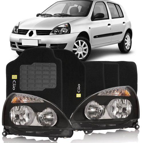 Combo Clio 2003 a 2012 Par Farol Mascara Negra + Tapete Carpete Preto Logo Bordado 2 Lados Dianteiro