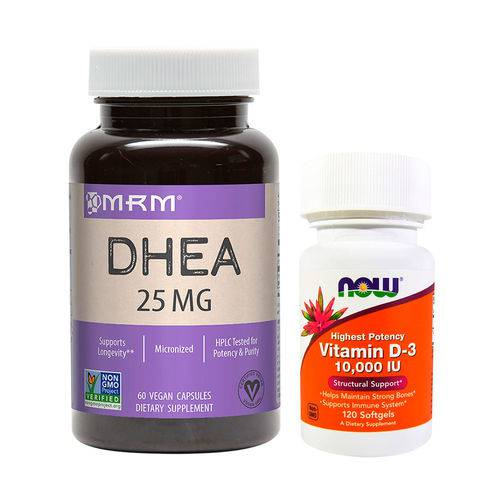 Combo Ddheä 25mg Mrm + Vit D3 10000 Ui 120 Softgels Now Foods