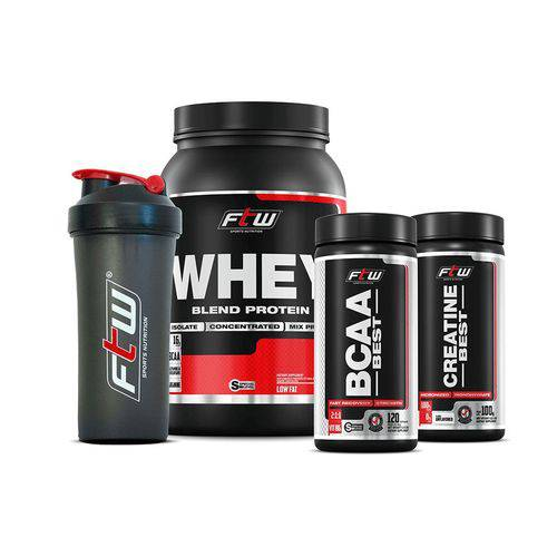 Combo Econômico Wpb Ftw Fitoway - (whey Chocolate 900gr + Bcaa Best 120caps + Creatina Best 100gr + Coqueteleira)