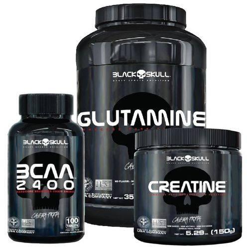 Combo - Glutamina 1000g + Bcaa 2400 + Creatina 150g - Black Skull