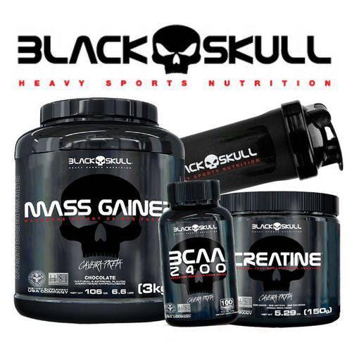 Combo Kit Black Skull - Massa Gainer 3kg Creatina Bcaa Coqueteleira