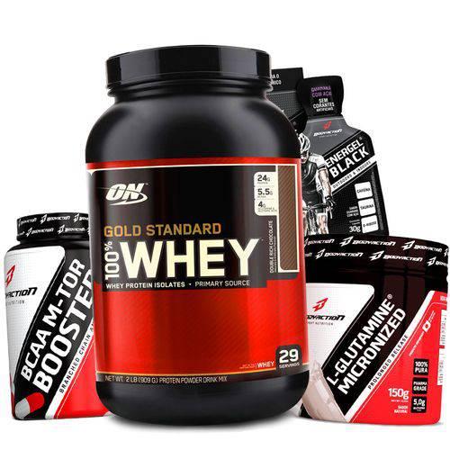 Combo Kit Whey Protein Gold Optimum + Bcaa + Glutamina Wey Way
