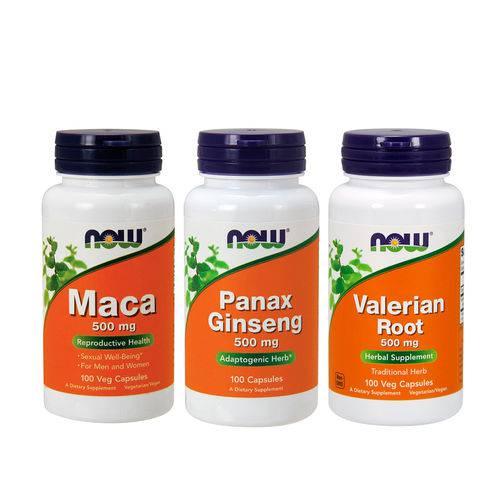 Combo Panax 100 Cp + Maca 100 Cp + Valeriana 100 Cp Now Food