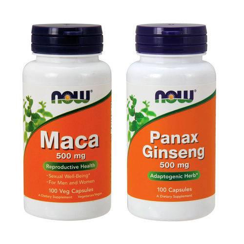 Combo Panax Ginseng 100 Caps + Maca Peruana 100 Caps Now Foods