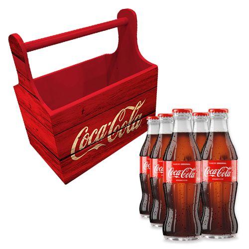 Combo Porta Garrafas Wood Style e 6 Garrafas Coca-Cola 250ml