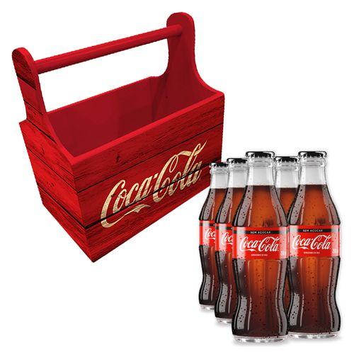 Combo Porta Garrafas Wood Style e 6 Garrafas Coca-Cola Zero 250ml