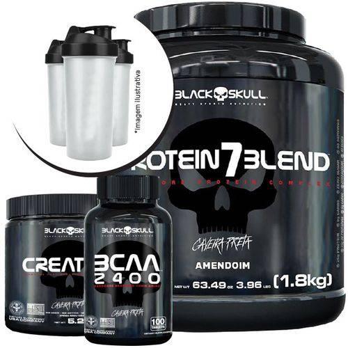 Combo - Protein 7 Blend 1800g + Bcaa + Creatina 150g + Coq - Black Skull